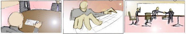 Figure 1.16 Adding color to your storyboards helps the viewer understand the look you plan to capture on set.
