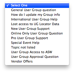 Topics for User Group Leader Support